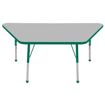 ECR4Kids Thermo-Fused Adjustable Ball 60 x 30 Trapezoid Laminate Activity Table Grey/Green (ELR-14219-GYGNGNTB)