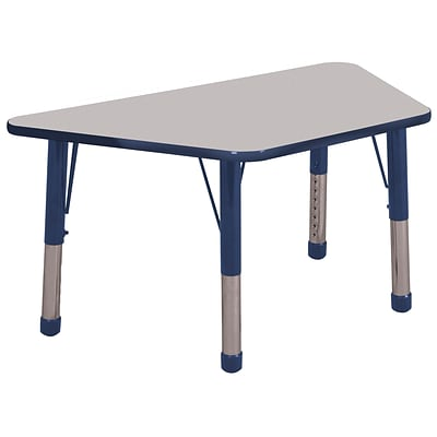 ECR4Kids Thermo-Fused Adjustable 60 x 30 Trapezoid Laminate Activity Table Grey/Navy (ELR-14219-GYNVNVCH)