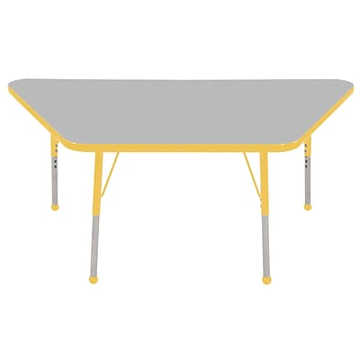 ECR4Kids Thermo-Fused Adjustable Ball 60 x 30 Trapezoid Laminate Activity Table Grey/Yellow (ELR-14219-GYYEYETB)