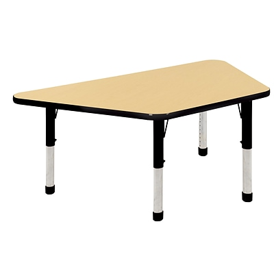 ECR4Kids Thermo-Fused Adjustable 60 x 30 Trapezoid Laminate Activity Table Maple/Black (ELR-14219-MPBKBKCH)