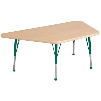ECR4Kids Thermo-Fused Adjustable Ball 60 x 30 Trapezoid Laminate Activity Table Maple/Maple/Green (ELR-14219-MPMPGNSB)