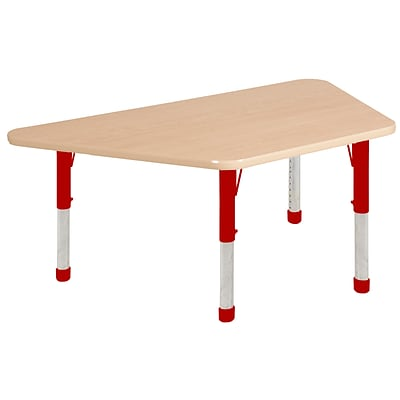ECR4Kids Thermo-Fused Adjustable 60 x 30 Trapezoid Laminate Activity Table Maple/Maple/Red (ELR-14219-MPMPRDCH)