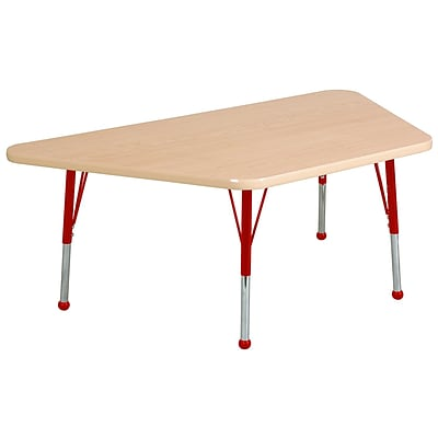 ECR4Kids Thermo-Fused Adjustable Ball 60 x 30 Trapezoid Laminate Activity Table Maple/Maple/Red (ELR-14219-MPMPRDTB)