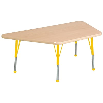 ECR4Kids Thermo-Fused Adjustable Ball 60 x 30 Trapezoid Laminate Activity Table Maple/Maple/Yellow (ELR-14219-MPMPYETB)