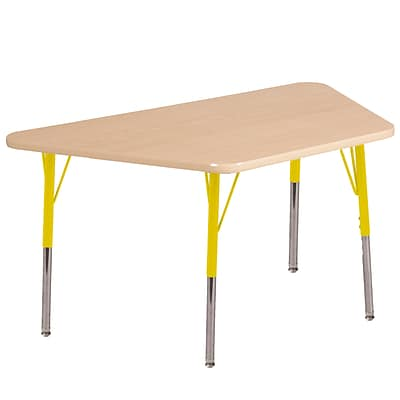 ECR4Kids Thermo-Fused Adjustable Swivel 60 x 30 Trapezoid Laminate Activity Table Maple/Maple/Yellow (ELR-14219-MPMPYESS)