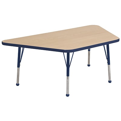 ECR4Kids Thermo-Fused Adjustable Ball 60 x 30 Trapezoid Laminate Activity Table Maple/Navy (ELR-14219-MPNVNVSB)