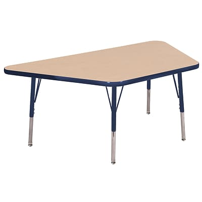 ECR4Kids Thermo-Fused Adjustable Swivel 60 x 30 Trapezoid Laminate Activity Table Maple/Navy (ELR-14219-MPNVNVTS)