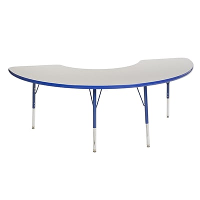 ECR4Kids Thermo-Fused Adjustable Swivel 72 x 36 Half Moon Laminate Activity Table Grey/Blue (ELR-14220-GYBLBLTS)