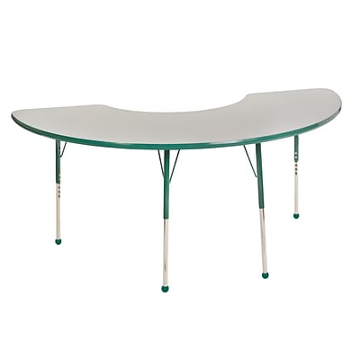 ECR4Kids Thermo-Fused Adjustable Ball 72 x 36 Half Moon Laminate Activity Table Grey/Green (ELR-14220-GYGNGNSB)