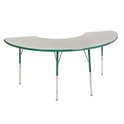 ECR4Kids Thermo-Fused Adjustable Swivel 72 x 36 Half Moon Laminate Activity Table Grey/Green (ELR-14220-GYGNGNSS)