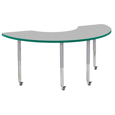 ECR4Kids Thermo-Fused Adjustable Leg 72 x 36 Half Moon Laminate Activity Table Grey/Green/Silver (ELR-14220-GYGNSVSL)