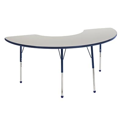 ECR4Kids Thermo-Fused Adjustable Ball 72 x 36 Half Moon Laminate Activity Table Grey/Navy (ELR-14220-GYNVNVTB)