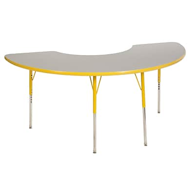 ECR4Kids Thermo-Fused Adjustable Swivel 72 x 36 Half Moon Laminate Activity Table Grey/Yellow (ELR-14220-GYYEYESS)
