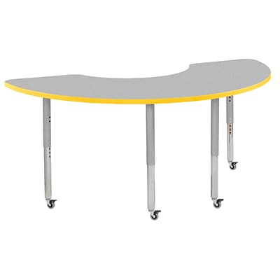 ECR4Kids T-Mold Adjustable Leg 72 x 36 Half Moon Laminate Activity Table Grey/Yellow/Silver (ELR-14120-GYESV-SL)