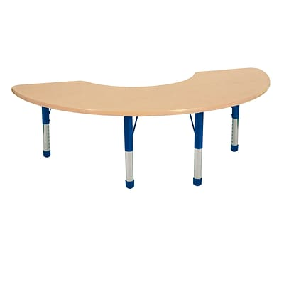 ECR4Kids Thermo-Fused Adjustable 72 x 36 Half Moon Laminate Activity Table Maple/Maple/Blue (ELR-14220-MPMPBLCH)
