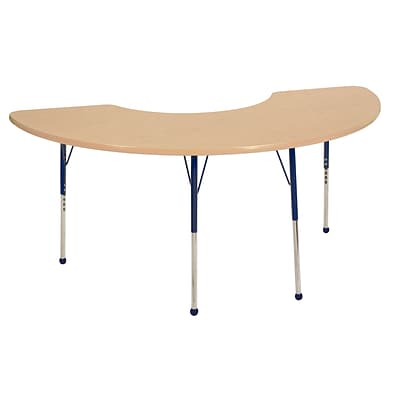 ECR4Kids Thermo-Fused Adjustable Ball 72 x 36 Half Moon Laminate Activity Table Maple/Maple/Navy (ELR-14220-MPMPNVTB)