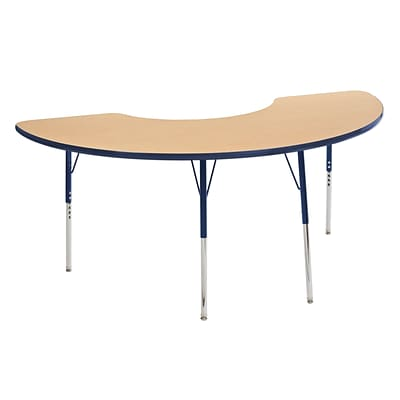 ECR4Kids Thermo-Fused Adjustable Swivel 72 x 36 Half Moon Laminate Activity Table Maple/Navy (ELR-14220-MPNVNVTS)