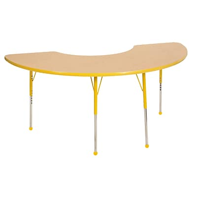 ECR4Kids Thermo-Fused Adjustable Ball 72 x 36 Half Moon Laminate Activity Table Maple/Yellow (ELR-14220-MPYEYETB)