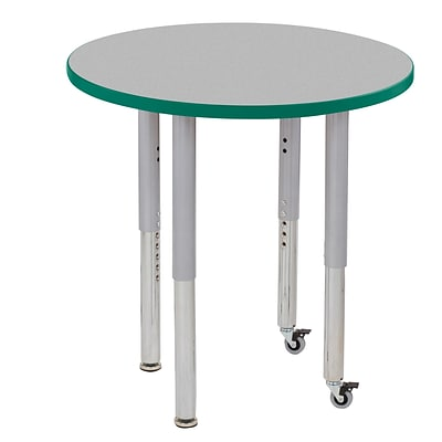 ECR4Kids Thermo-Fused Adjustable Leg 30 Round Laminate Activity Table Grey/Green/Silver (ELR-14221-GYGNSVSL)