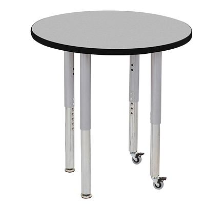 ECR4Kids Thermo-Fused Adjustable Leg 30 Round Laminate Activity Table Grey/Black/Silver (ELR-14221-GYBKSVSL)