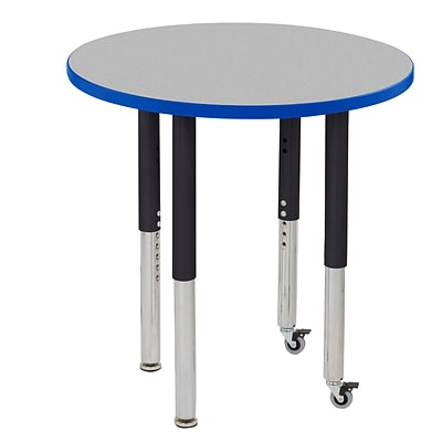 ECR4Kids Thermo-Fused Adjustable Leg 30 Round Laminate Activity Table Grey/Blue/Black (ELR-14221-GYBLBKSL)