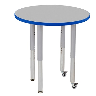 ECR4Kids T-Mold Adjustable 30 Round Laminate Activity Table Grey/Blue/Silver (ELR-14121-GBLSV-SL)