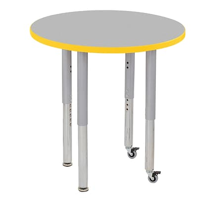 ECR4Kids Thermo-Fused Adjustable Leg 30 Round Laminate Activity Table Grey/Yellow/Silver (ELR-14221-GYYESVSL)
