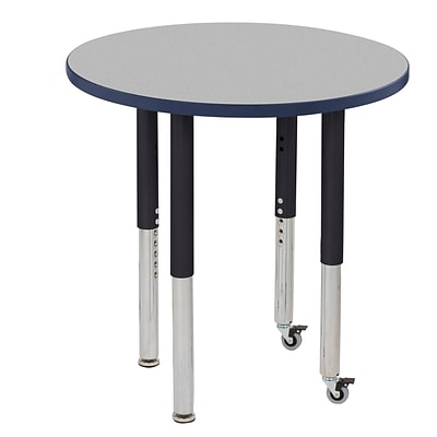 ECR4Kids Thermo-Fused Adjustable Leg 30 Round Laminate Activity Table Grey/Navy/Black (ELR-14221-GYNVBKSL)