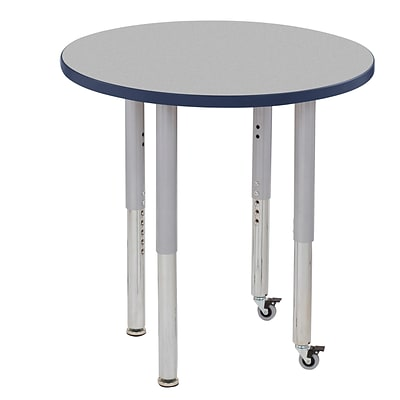 ECR4Kids T-Mold Adjustable Leg 30 Round Laminate Activity Table Grey/Navy/Silver (ELR-14121-GNVSV-SL)