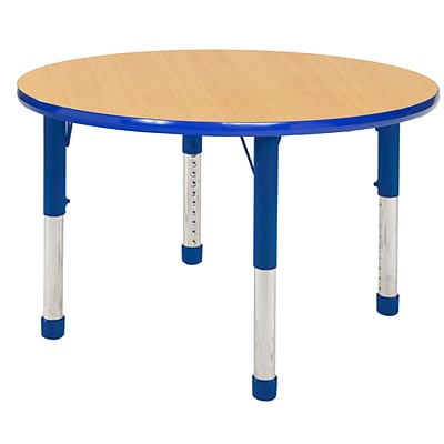 ECR4Kids Thermo-Fused Adjustable 30 Round Laminate Activity Table Maple/Blue (ELR-14221-MPBLBLCH)