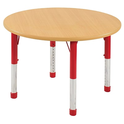 ECR4Kids Thermo-Fused Adjustable 30 Round Laminate Activity Table Maple/Maple/Red (ELR-14221-MPMPRDCH)