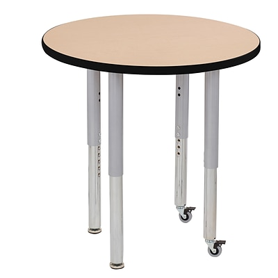 ECR4Kids T-Mold Adjustable Leg 30 Round Laminate Activity Table Maple/Black/Silver (ELR-14121-MBKSV-SL)