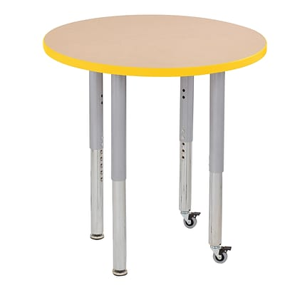 ECR4Kids Thermo-Fused Adjustable Leg 30 Round Laminate Activity Table Maple/Yellow/Silver (ELR-14221-MPYESVSL)