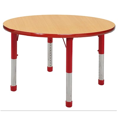ECR4Kids Thermo-Fused Adjustable 30 Round Laminate Activity Table Maple/Red (ELR-14221-MPRDRDCH)