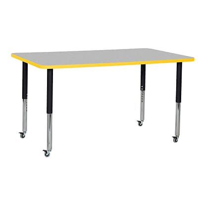 ECR4Kids T-Mold Adjustable Leg 60 x 36 Rectangle Laminate Activity Table Grey/Yellow/Black (ELR-14122-GYEBK-SL)