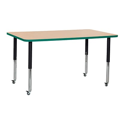 ECR4Kids Thermo-Fused Adjustable Leg 60 x 36 Rectangle Laminate Activity Table Maple/Green/Black (ELR-14222-MPGNBKSL)