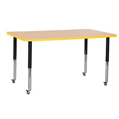 ECR4Kids Thermo-Fused Adjustable Leg 60 x 36 Rectangle Laminate Activity Table Maple/Yellow/Black (ELR-14222-MPYEBKSL)