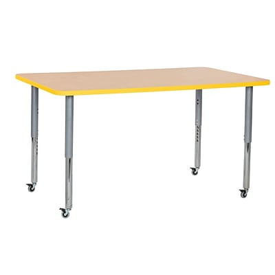 ECR4Kids Thermo-Fused Adjustable Leg 60 x 36 Rectangle Laminate Activity Table Maple/Yellow/Silver (ELR-14222-MPYESVSL)