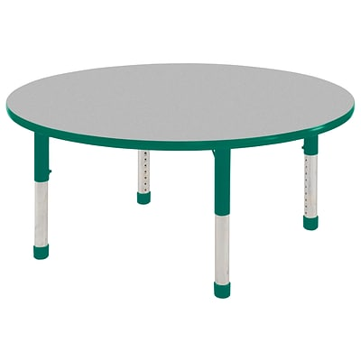 ECR4Kids Thermo-Fused Adjustable 60 Round Laminate Activity Table Grey/Green (ELR-14224-GYGNGNCH)