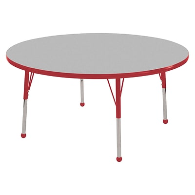 ECR4Kids Thermo-Fused Adjustable Ball 60 Round Laminate Activity Table Grey/Red (ELR-14224-GYRDRDTB)