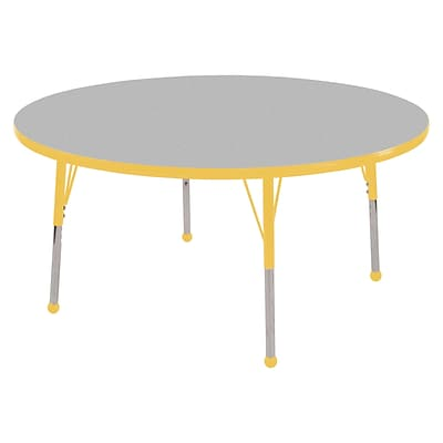 ECR4Kids Thermo-Fused Adjustable Ball 60 Round Laminate Activity Table Grey/Yellow (ELR-14224-GYYEYESB)