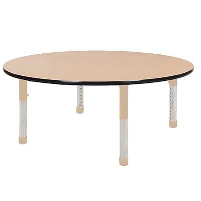 ECR4Kids T-Mold Adjustable 60 Round Laminate Activity Table Maple/Black/Sand (ELR-14124-MBKSD-C)