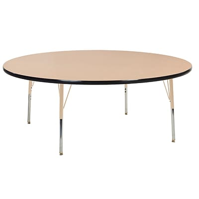 ECR4Kids T-Mold Adjustable Swivel 60 Round Laminate Activity Table Maple/Black/Sand (ELR-14124-MBKSD-TS)