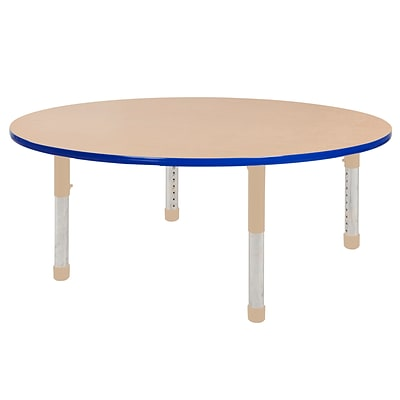 ECR4Kids Thermo-Fused Adjustable 60 Round Laminate Activity Table Maple/Blue/Sand (ELR-14224-MPBLSDCH)