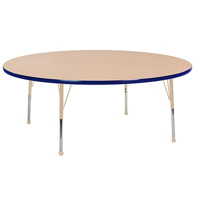 ECR4Kids Thermo-Fused Adjustable Ball 60 Round Laminate Activity Table Maple/Blue/Sand (ELR-14224-MPBLSDSB)