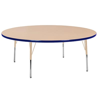 ECR4Kids Thermo-Fused Adjustable Swivel 60 Round Laminate Activity Table Maple/Blue/Sand (ELR-14224-MPBLSDTS)
