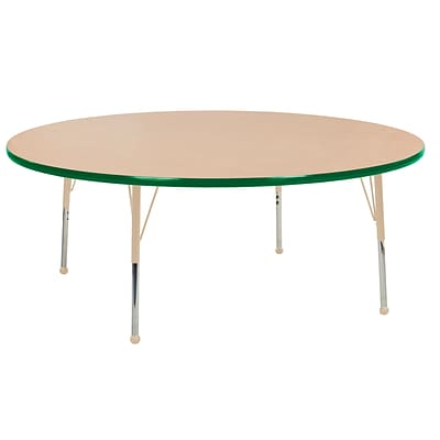 ECR4Kids Thermo-Fused Adjustable Ball 60 Round Laminate Activity Table Maple/Green/Sand (ELR-14224-MPGNSDSB)