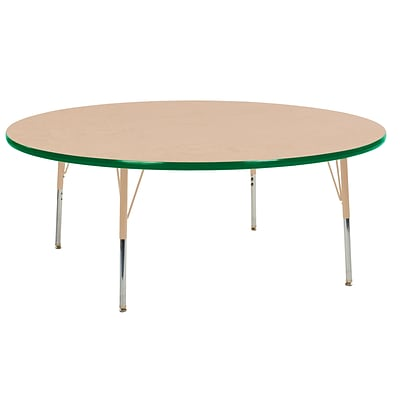 ECR4Kids Thermo-Fused Adjustable Swivel 60 Round Laminate Activity Table Maple/Green/Sand (ELR-14224-MPGNSDTS)