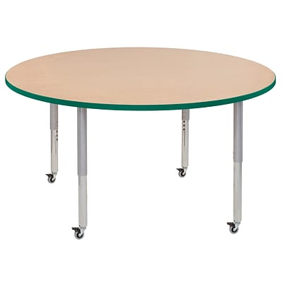 ECR4Kids Thermo-Fused Adjustable Leg 60 Round Laminate Activity Table Maple/Green/Silver (ELR-14224-MPGNSVSL)