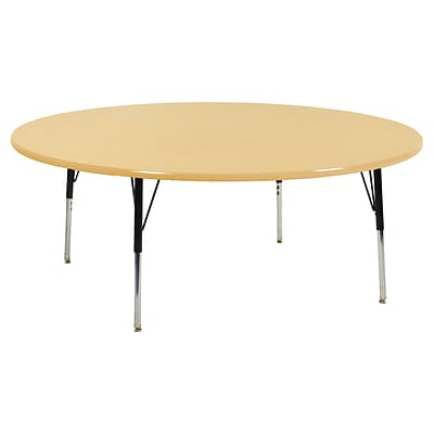 ECR4Kids Thermo-Fused Adjustable Swivel 60 Round Laminate Activity Table Maple/Maple/Black (ELR-14224-MPMPBKSS)
